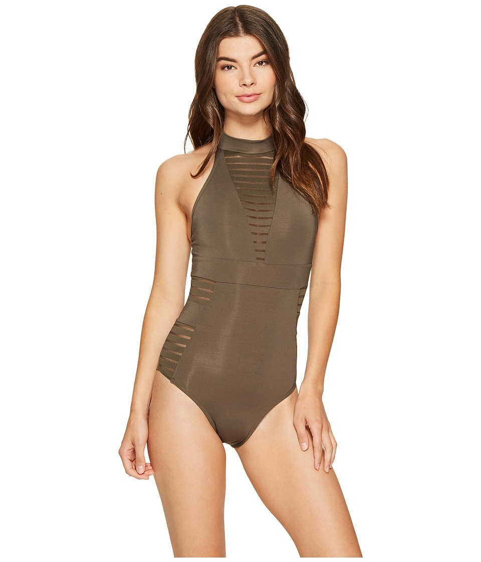 JETS by Jessika Allen - Parallels High Neck One-Piece Swimsuit (Stone) Women's Swimsuits One Piece