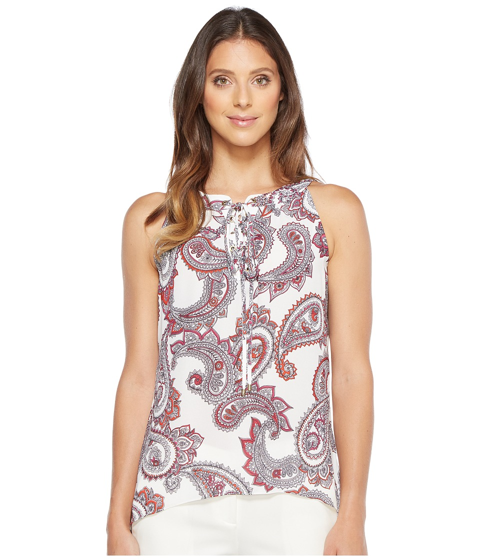 Ivanka Trump - Woven Hanky Hem Printed Sleeveless Blouse (Paisley/Off-White) Women's Blouse
