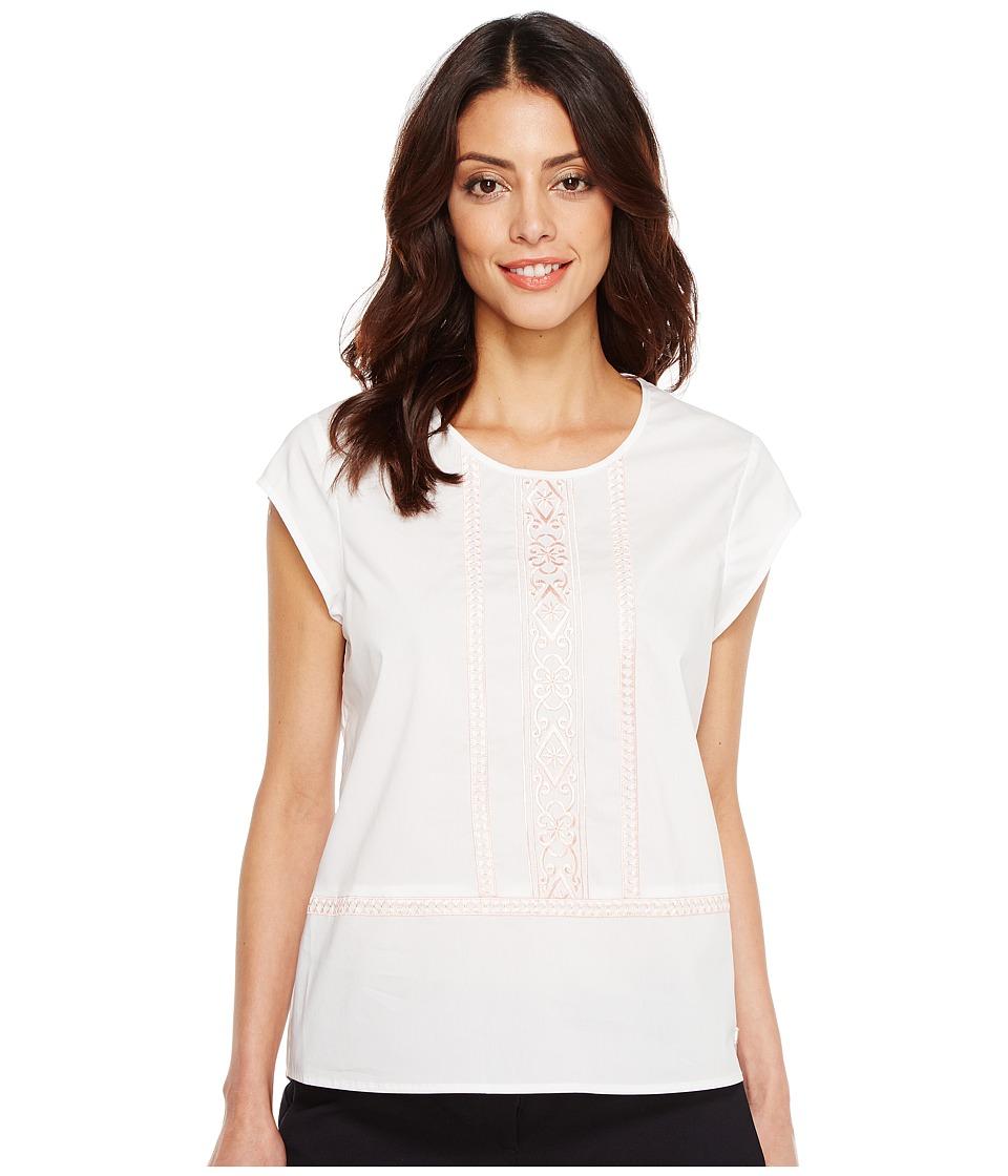 Ivanka Trump - Cotton Blend Woven Embroidered Blouse (White/Peach) Women's Blouse