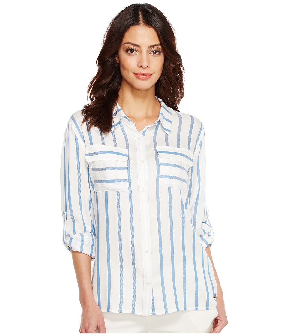 Ivanka Trump - Cotton Blend Stripe Long Sleeve Boyfriend Shirt (Blue/White) Women's Clothing
