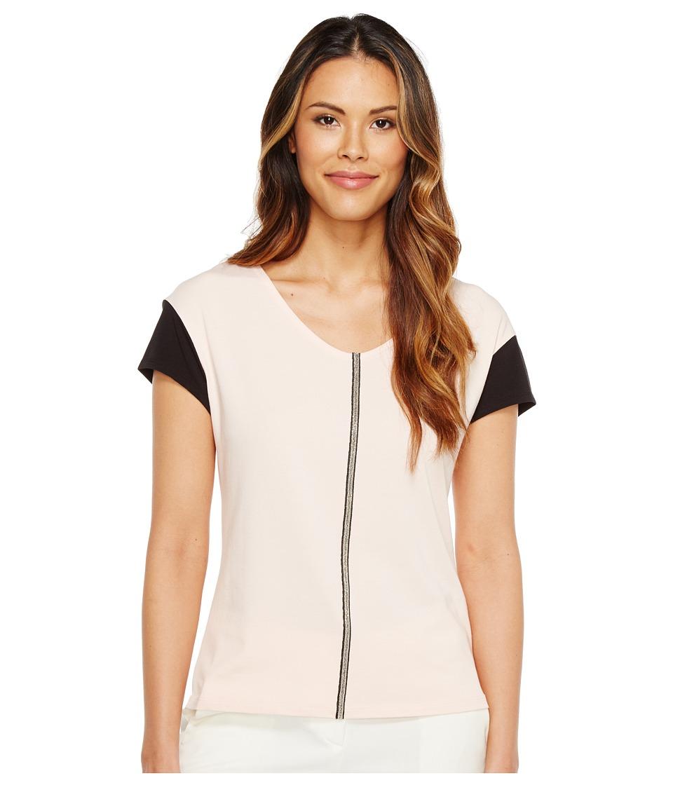 Ivanka Trump - Color Contrast Sleeve Tee (Blush/Black) Women's T Shirt