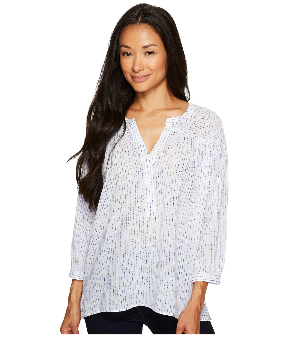 TWO by Vince Camuto - Cotton Tencel Drizzle Stripe Ruched Henley (Ultra White) Women's Long Sleeve Pullover
