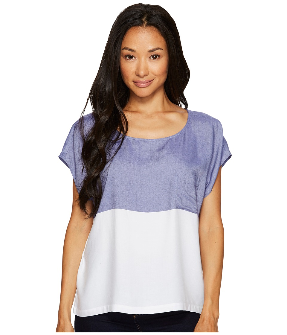 TWO by Vince Camuto - Short Sleeve Engineered Block Stripe Boxy Shirt (Blue Stone) Women's T Shirt