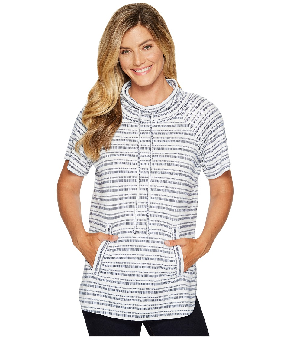 TWO by Vince Camuto - Short Sleeve Variegated Stripe Rib Funnel Neck Pullover (Navy League) Women's Short Sleeve Pullover