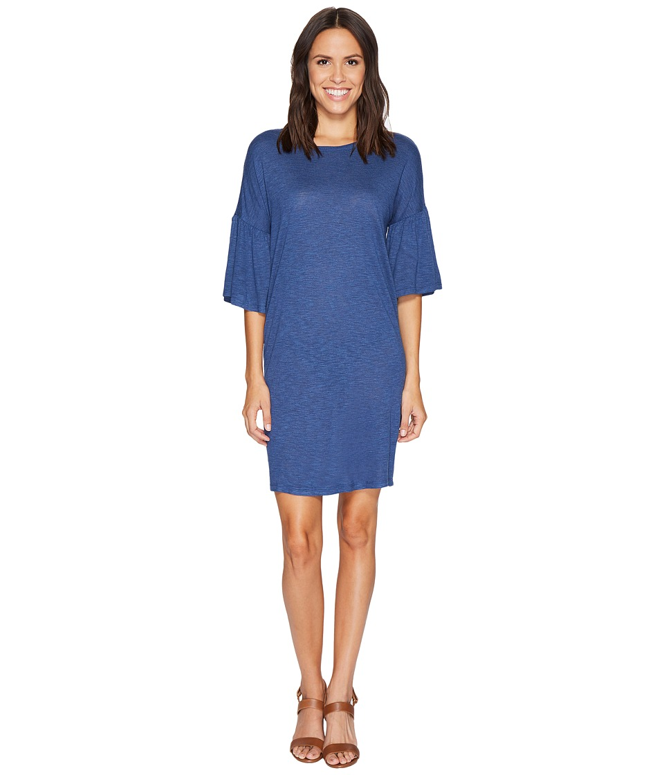 TWO by Vince Camuto - Ruched Bell Sleeve Slub Jersey Knit Dress (Indigo Heather) Women's Dress