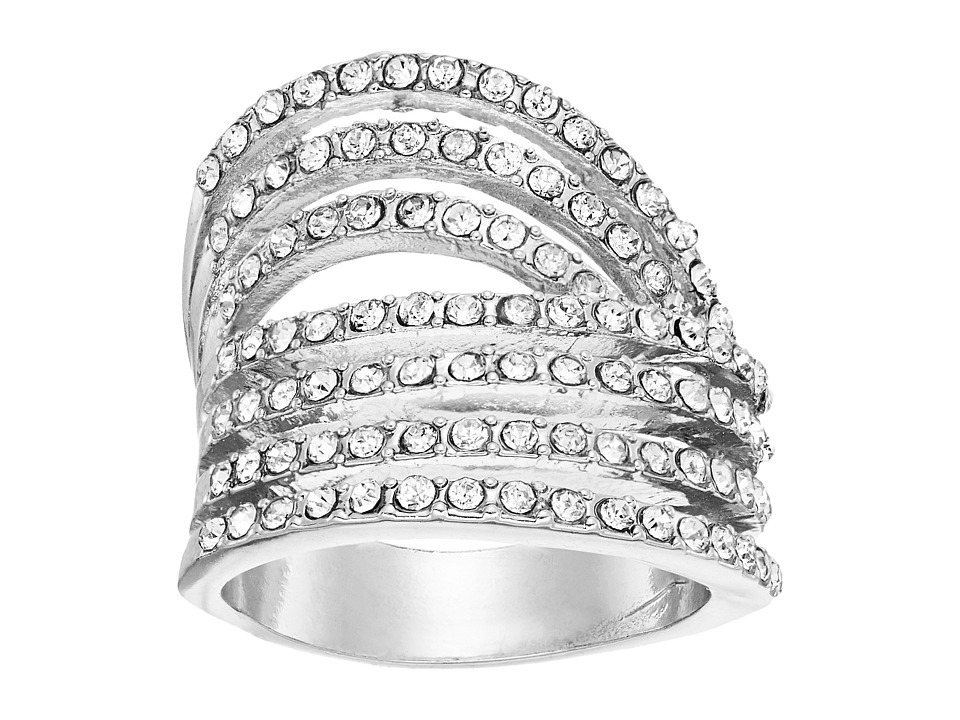GUESS - Look of Six Dainty Pave Bands Ring (Silver/Crystal) Ring