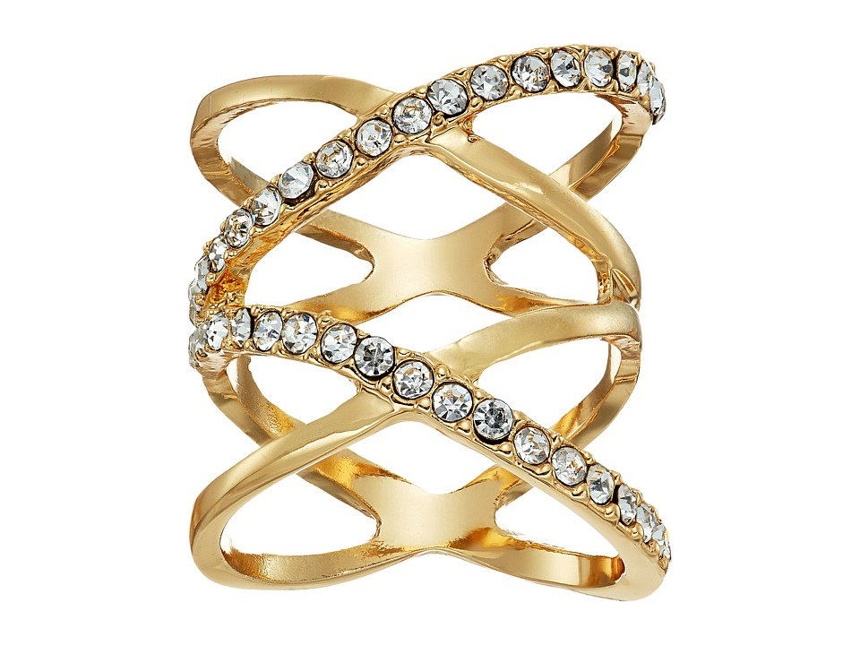 GUESS - Double Crisscross Pave Ring (Gold/Crystal) Ring