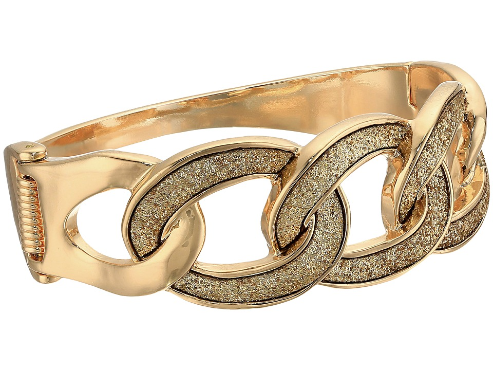 GUESS - Frozen Link Hinge Bangle (Gold/Gold Glitter) Bracelet