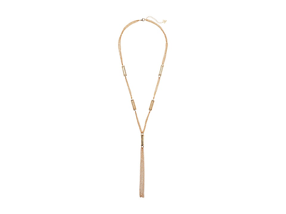 GUESS - Stationed Y Necklace (Gold/Gold Glitter) Necklace
