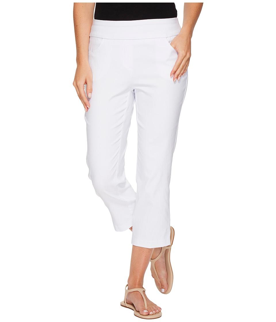 Tribal - Stretch Bengaline 22 Flatten It Pull-On Capris (White) Women's Casual Pants