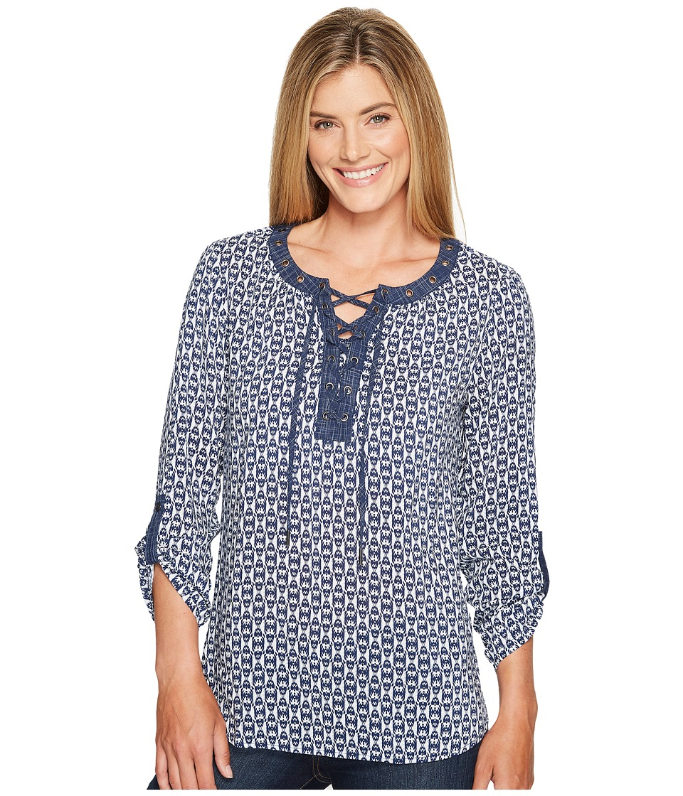 Tribal - Long Sleeve Blouse w/ Neck Lace-Up and Roll Up Sleeve Detail (Eclipse) Women's Blouse