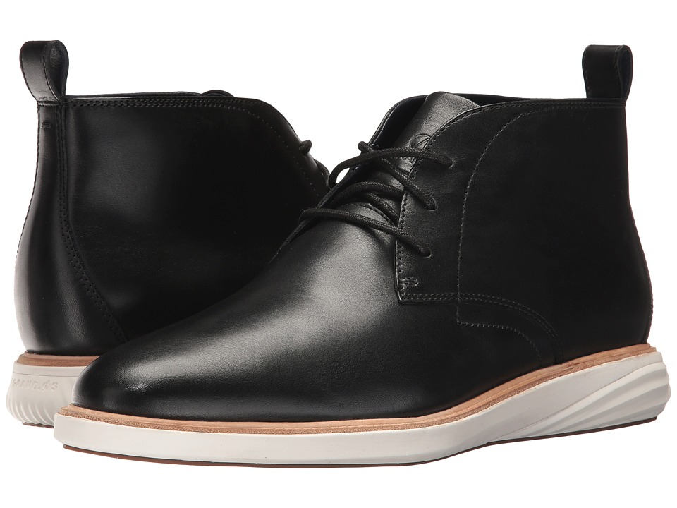 Cole Haan Grand Evolution Chukka Waterproof (Black Leather/Ivory) Men