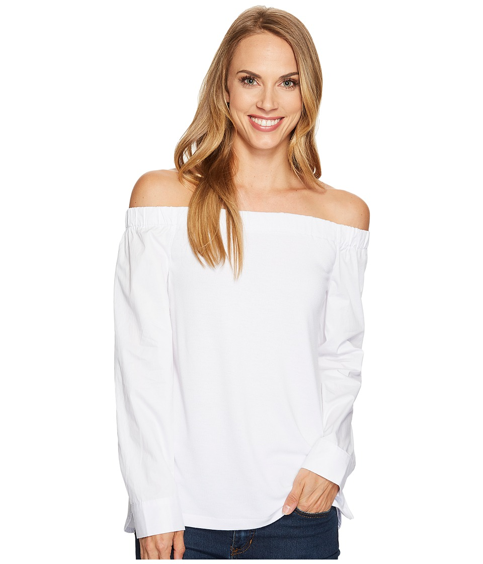 Tribal Off Shoulder Top w/ Knit Front and Woven Back (White) Women