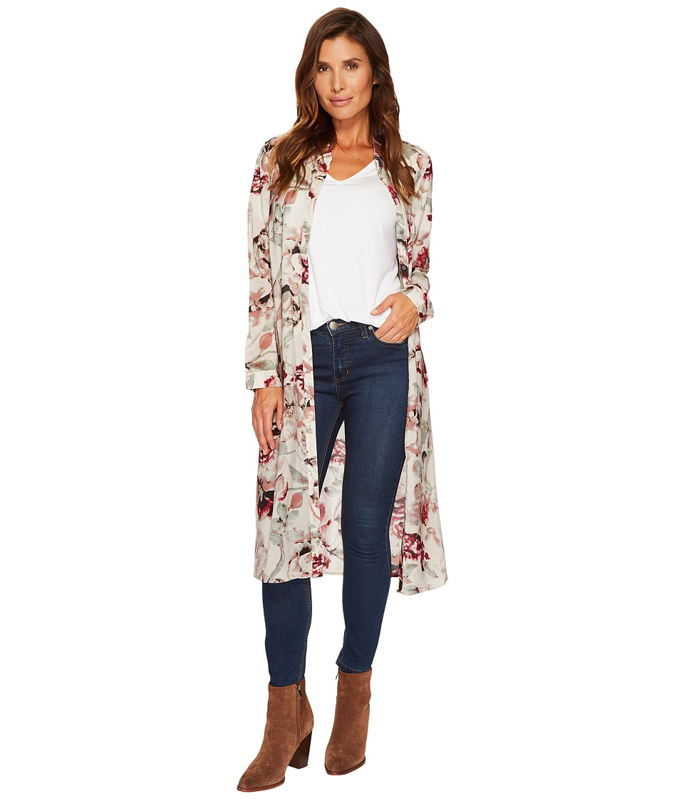 Tribal Printed Floral Duster Shirt (Cabernet) Women
