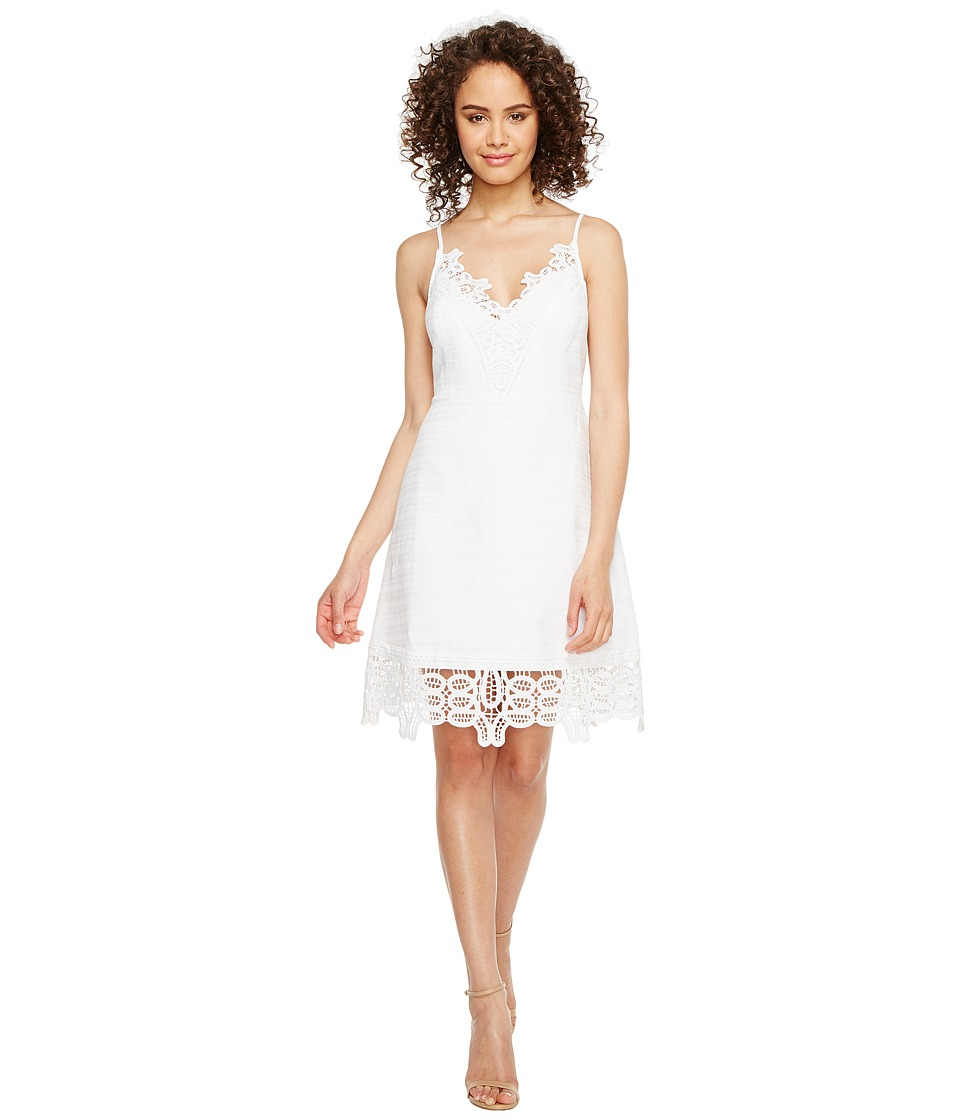 Laundry by Shelli Segal - A-Line Dress w/ Lace Trim (Optic White) Women's Dress