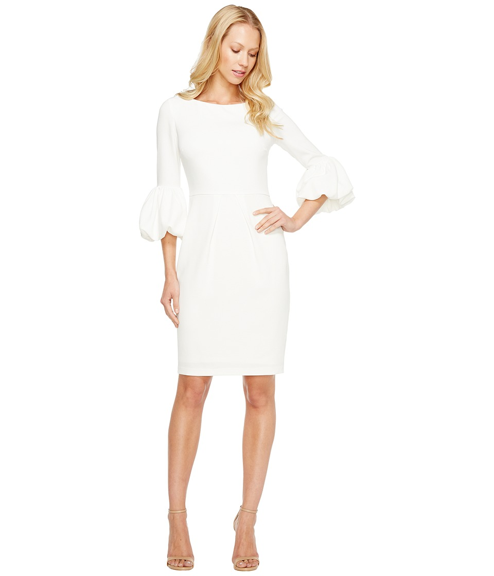 Laundry by Shelli Segal Puffy Sleeve Dress (Warm White) Women
