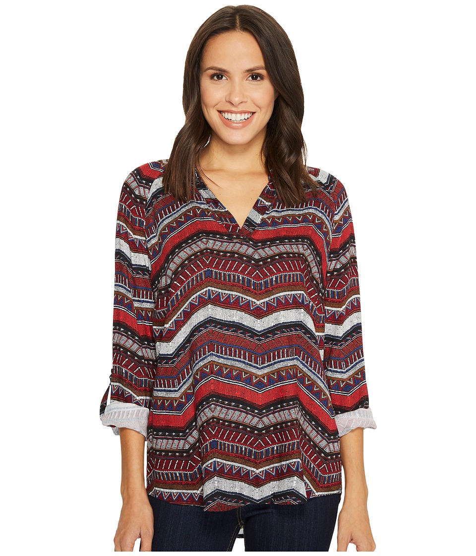 Tribal Long Sleeve Blouse w/ Roll Up Sleeve and Beading Detail (Red) Women