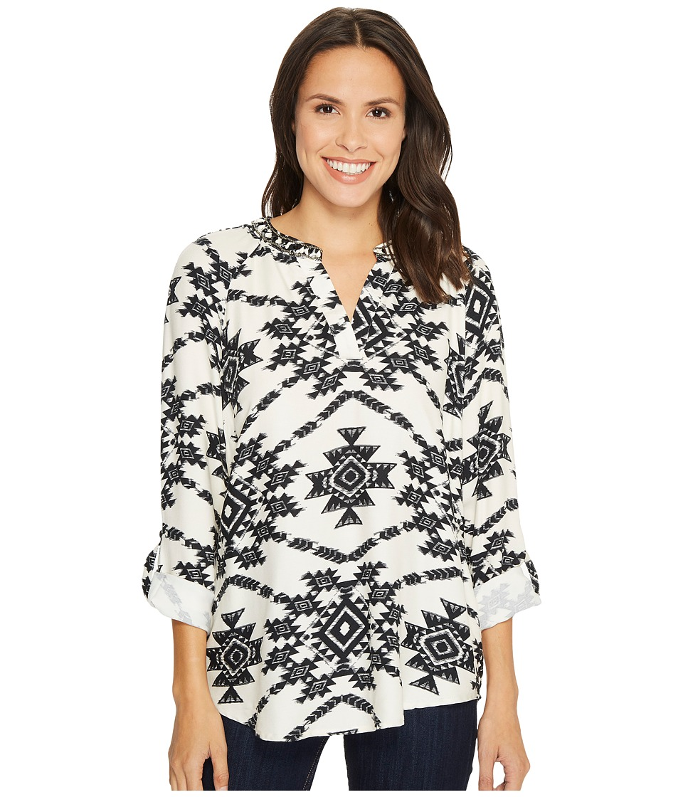 Tribal Long Sleeve Blouse w/ Roll Up Sleeve and Beading Detail (Cream) Women