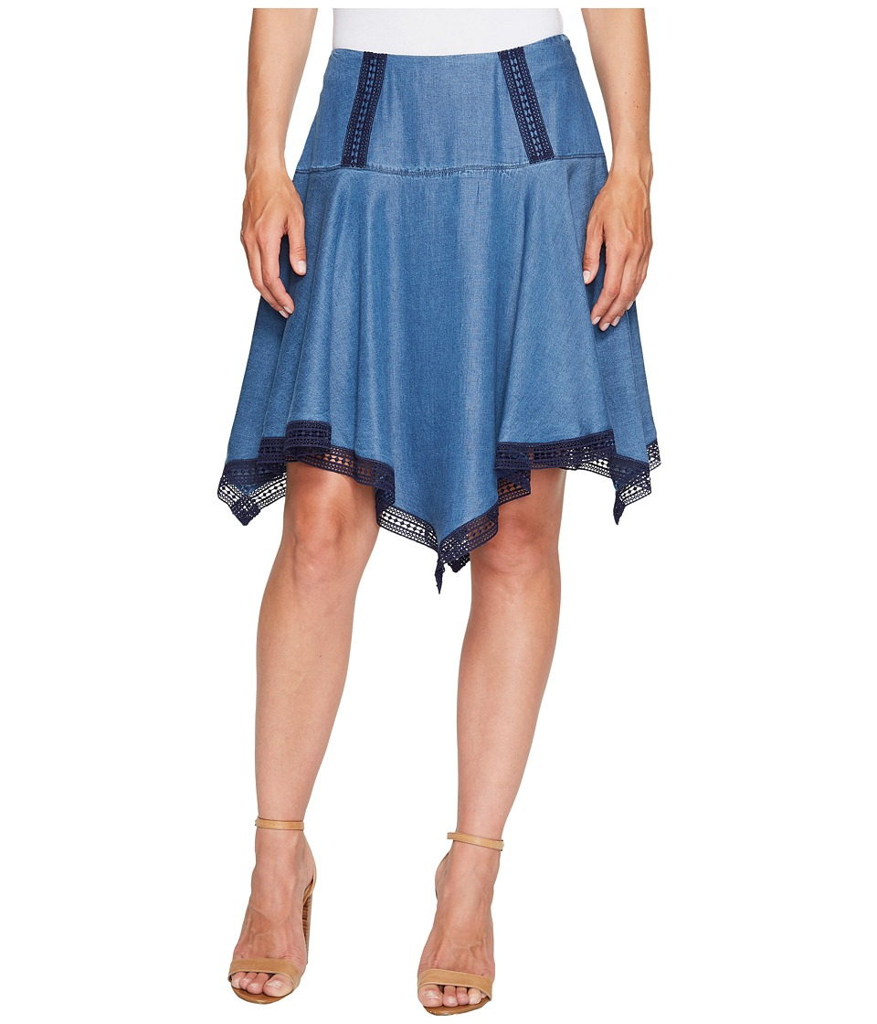 Ivanka Trump - Hanky Hem Denim Tencil Skirt (Dark Blue) Women's Skirt