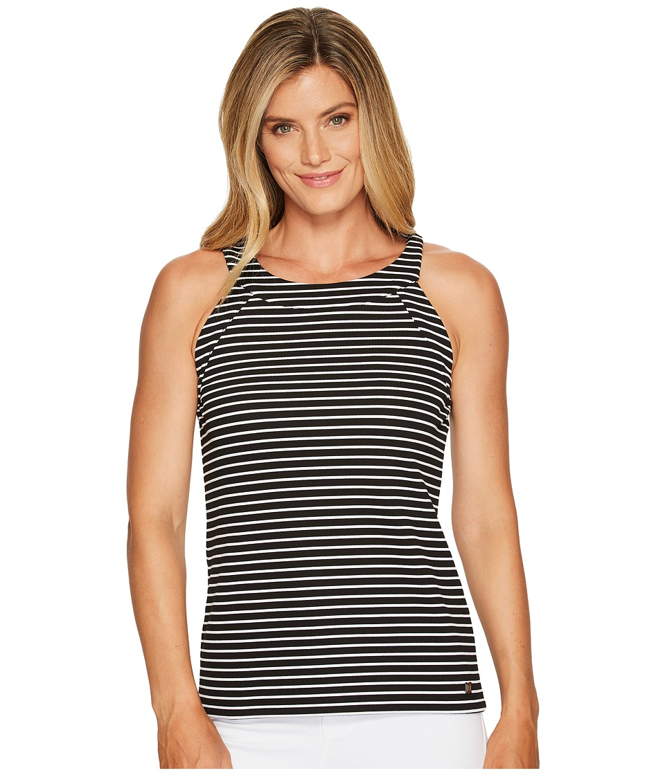 Ivanka Trump - Halter Knit Jersey Stripe Tank Top (Black/White) Women's Clothing