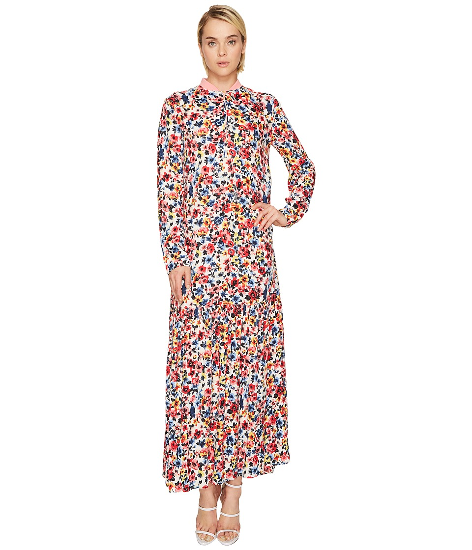 LOVE Moschino Ankle Length Floral Zip Neck Dress (Light Multi Floral) Women