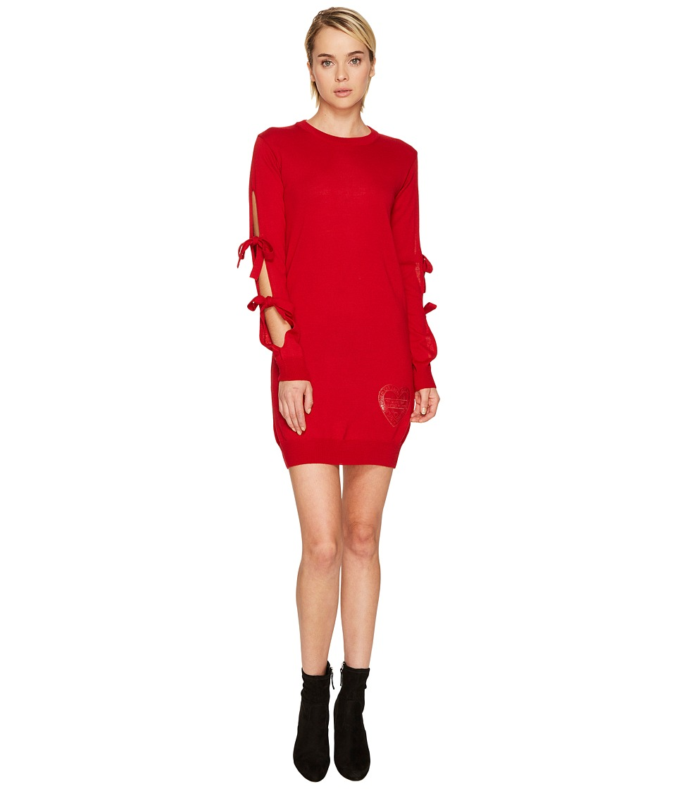 LOVE Moschino Long Tie Sleeve Sweater Dress (Red) Women