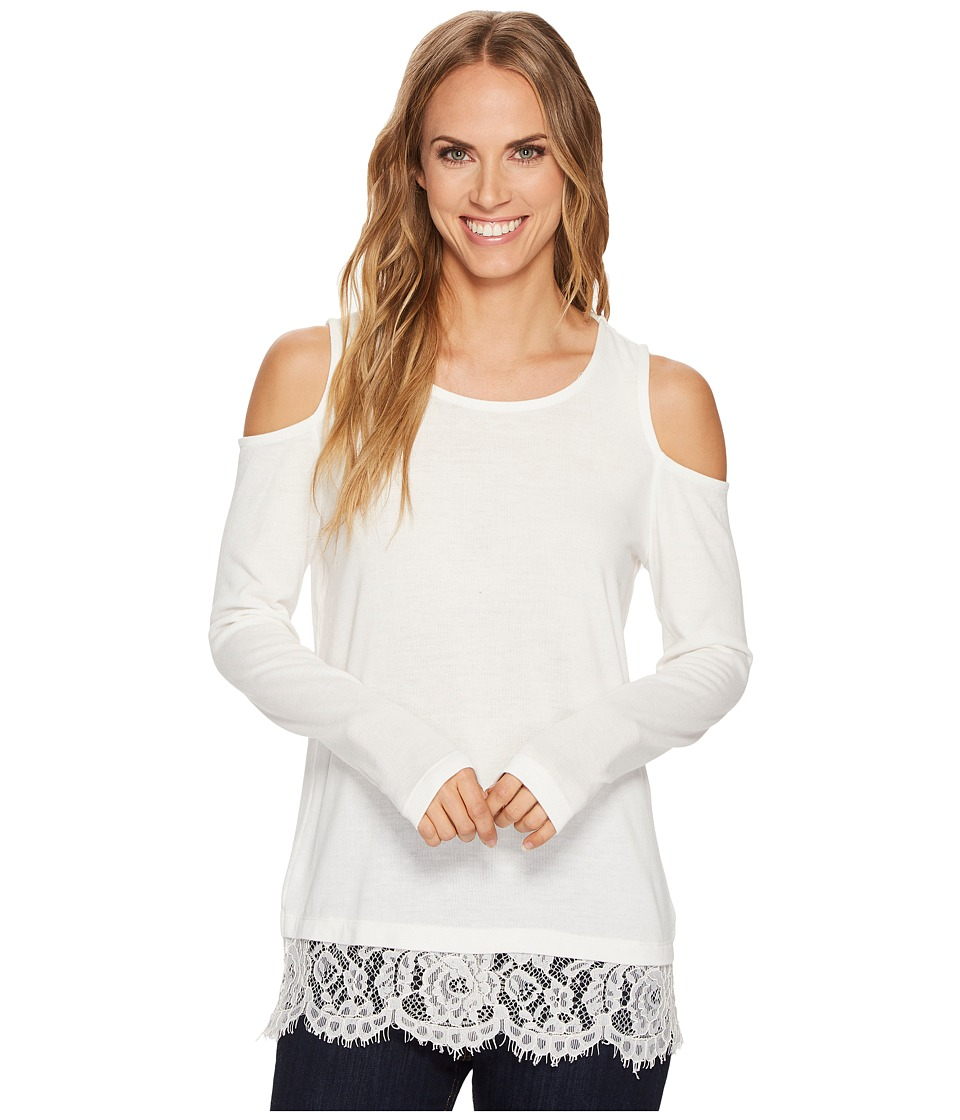 Tribal Cold Shoulder Top w/ Lace Trim and Lace Back Detail (Cream) Women