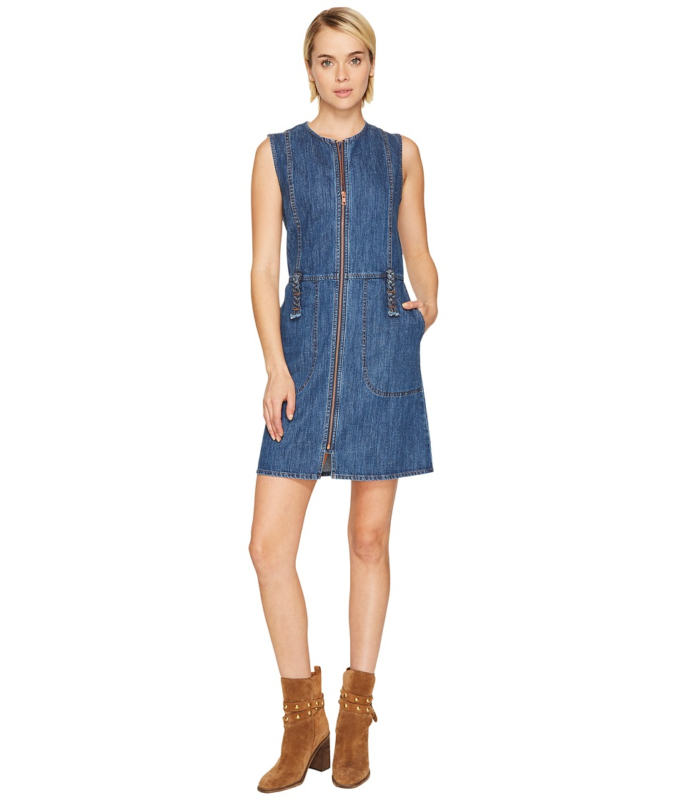 See by Chloe - Signature Denim Zip-Up Dress (Washed Indigo) Women's Dress