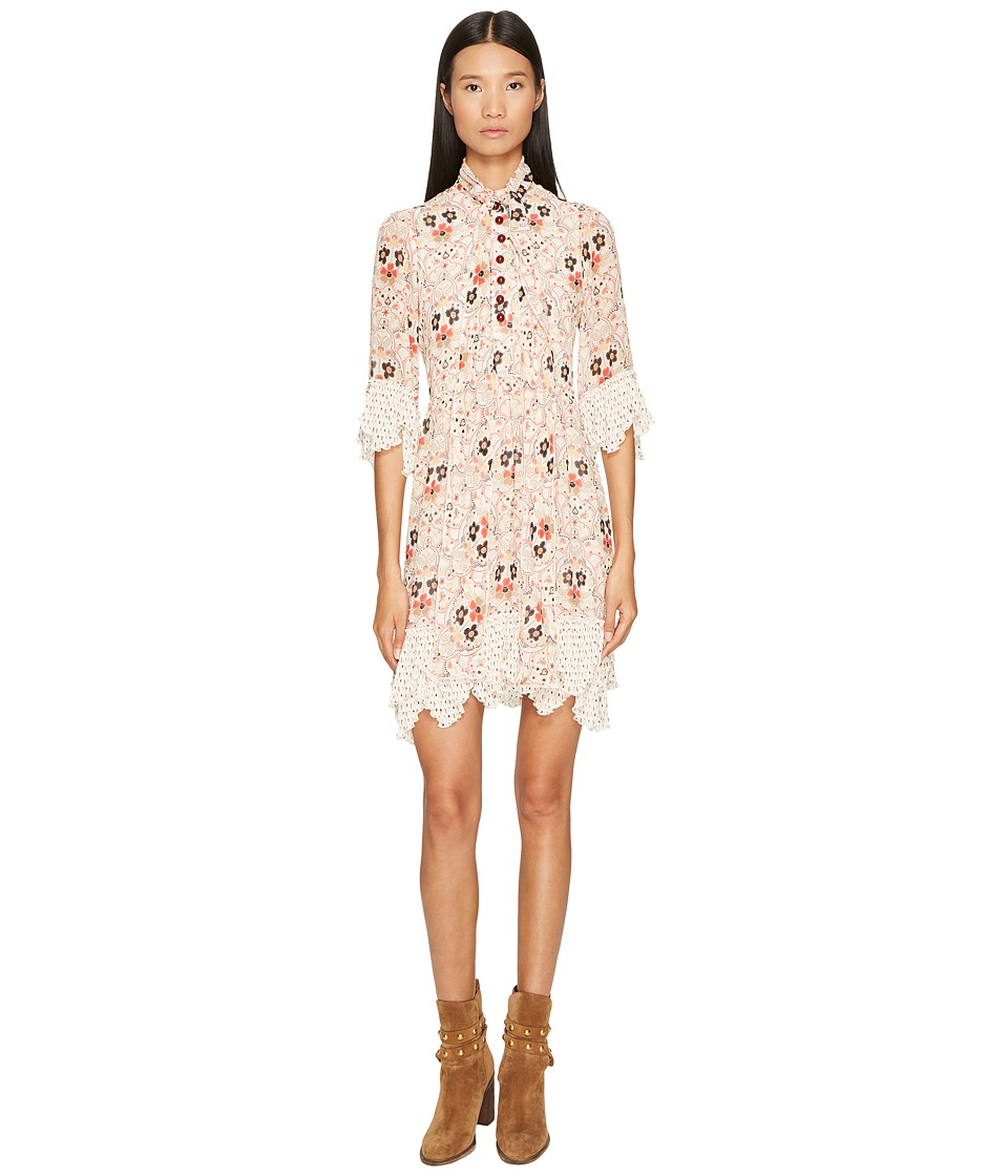 See by Chloe - Georgette Dress with Neck Tie (Winter White) Women's Dress