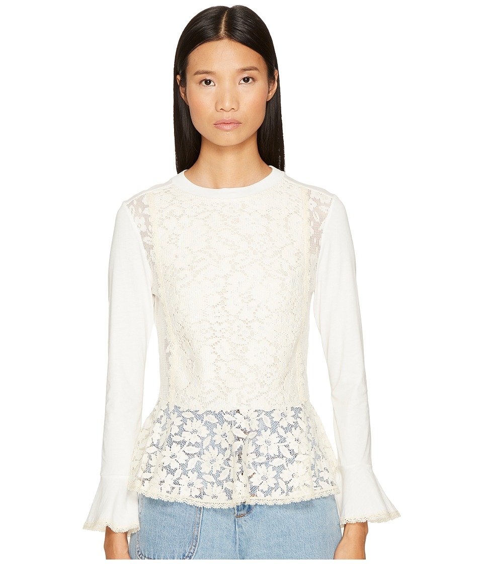 See by Chloe - Embellished Peplum Long Sleeve Tee (Natural White) Women's T Shirt