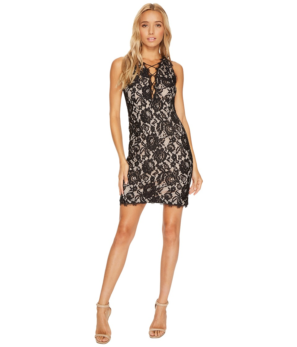 Aidan Mattox Sleeveless Plunging Lace Cocktail Dress with Strapping (Black) Women