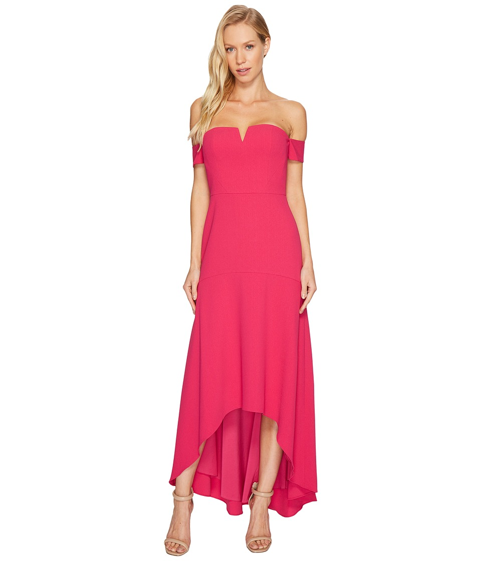 Aidan Mattox - Off the Shoulder Crepe High-Low Gown (Raspberry) Women's Dress