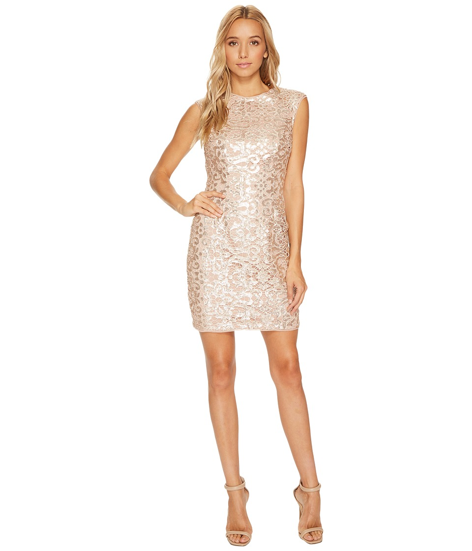 Aidan Mattox - Raglan Cap Sleeve Sequin Lace Sheath Dress (Rose Gold) Women's Dress