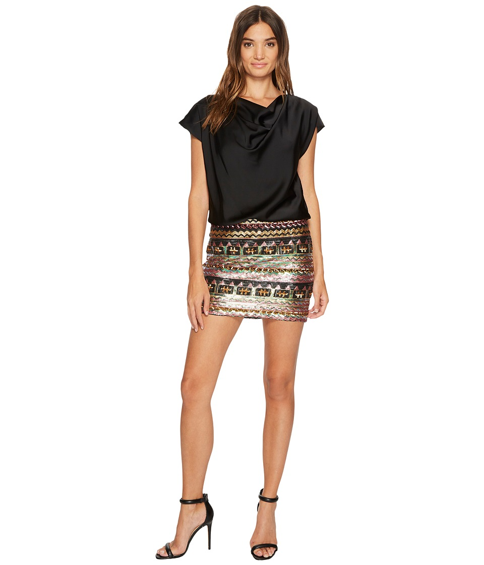 Aidan Mattox Charmeuse Cowl Blouson Bodice and Multicolor Sequin Skirt Black Multi Dress