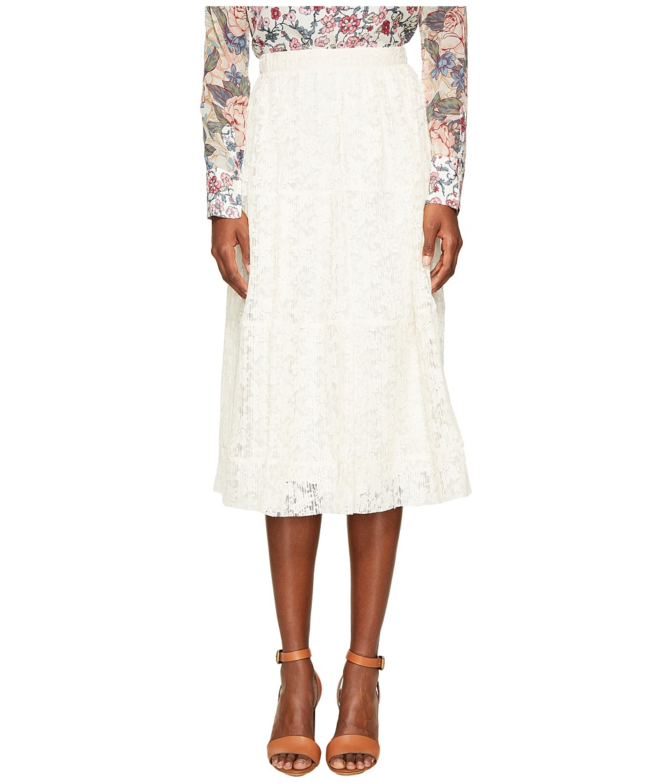 See by Chloe - Lace and Pleats Skirt (Natural White) Women's Skirt