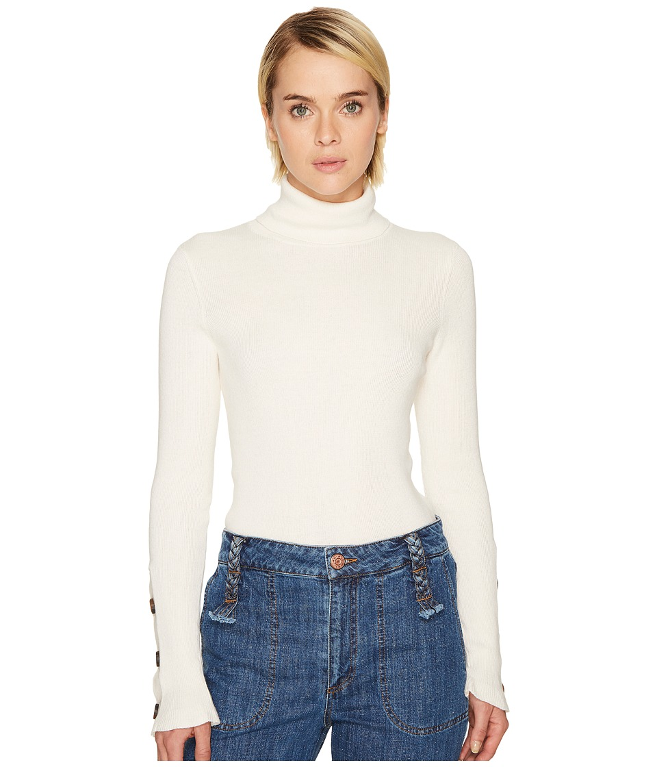 See by Chloe - Emebellished Turtleneck Sweater (Natural White) Women's Sweater