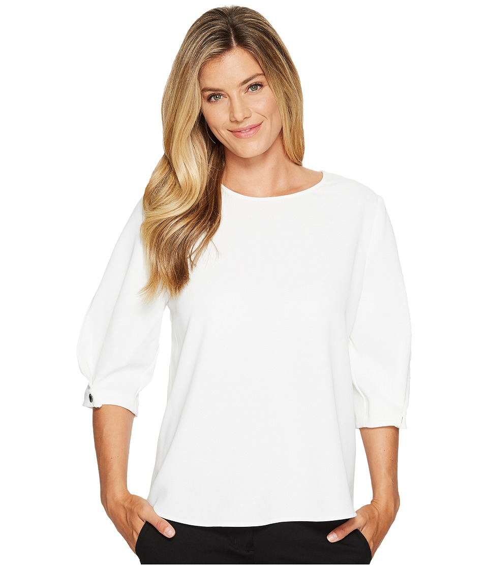 Vince Camuto - Folded Bubble Sleeve Texture Base Blouse (New Ivory) Women's Blouse