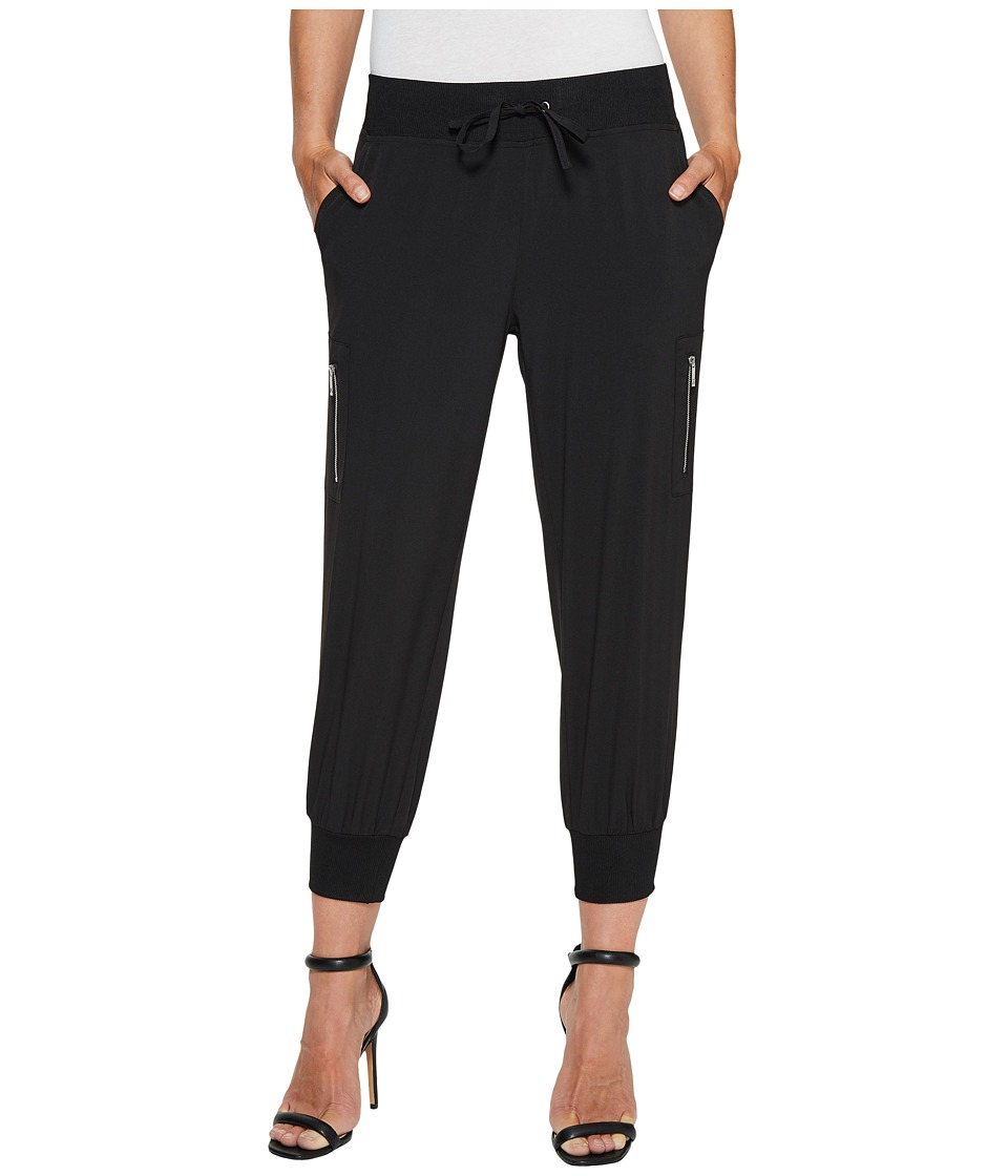 Ivanka Trump - Zipper Nylon Singed Ankle Pants (Black) Women's Casual Pants