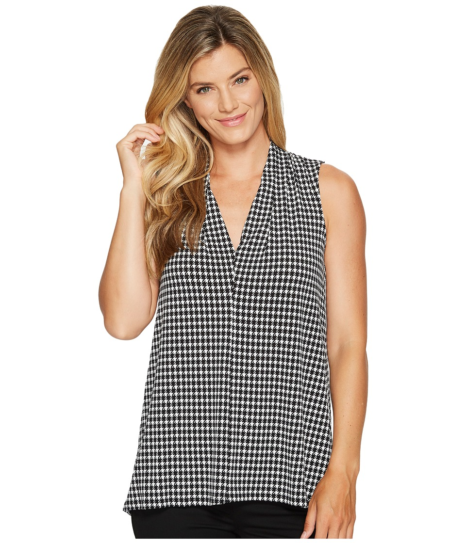 Vince Camuto - Sleeveless Petite Houndstooth Center Front Seam V-Neck Top (Rich Black) Women's Clothing
