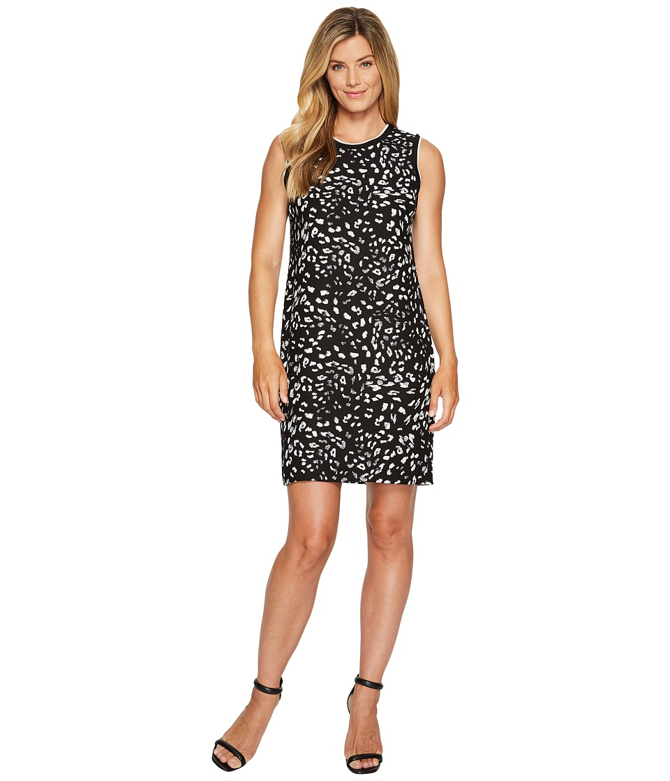 Vince Camuto - Sleeveless Animal Whispers Shift Dress (Rich Black) Women's Dress