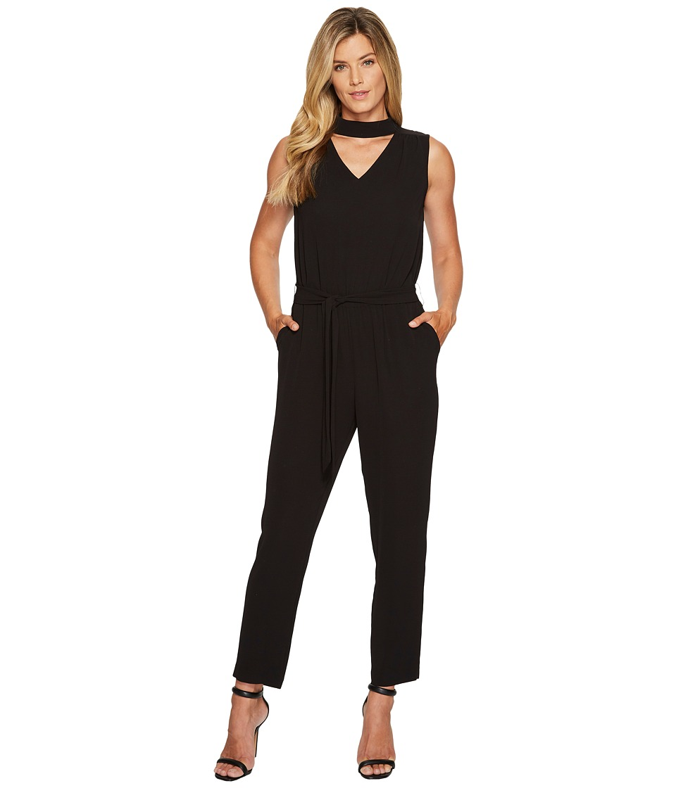 Vince Camuto - Sleeveless Mock Choker V-Neck Belted Jumpsuit (Rich Black) Women's Jumpsuit & Rompers One Piece