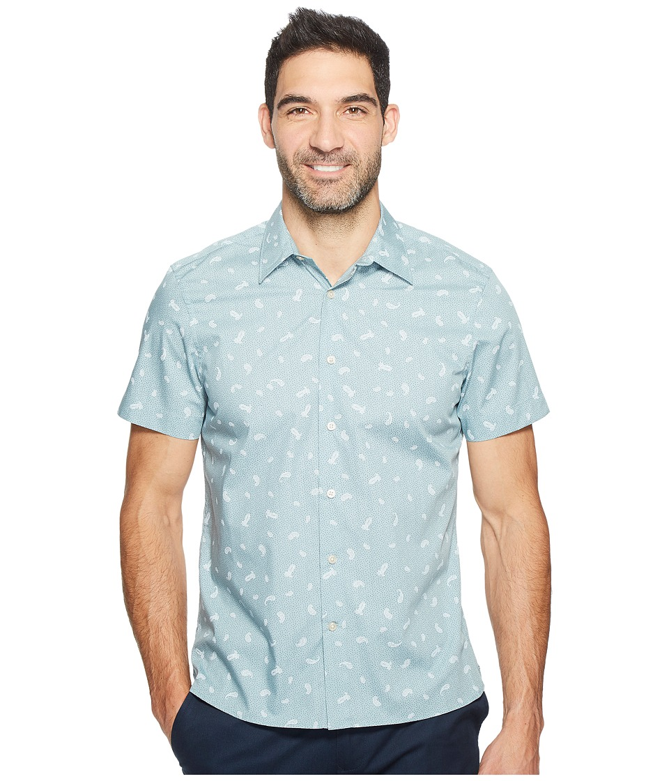 Perry Ellis - Short Sleeve Paisley Dot Shirt (Bright Storm Blue) Men's Clothing