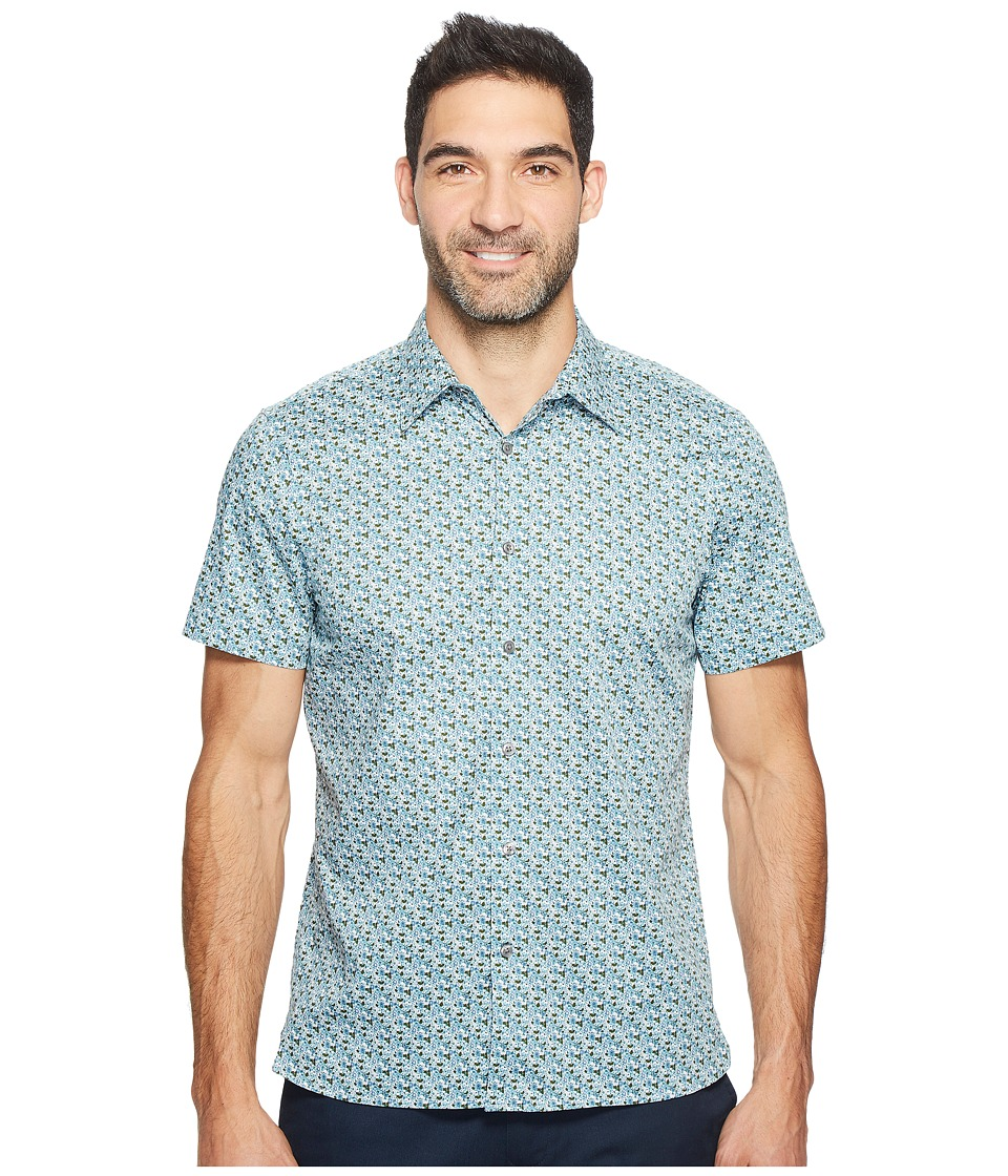 Perry Ellis - Short Sleeve Micro Multicolor Floral Shirt (Stone Blue) Men's Clothing