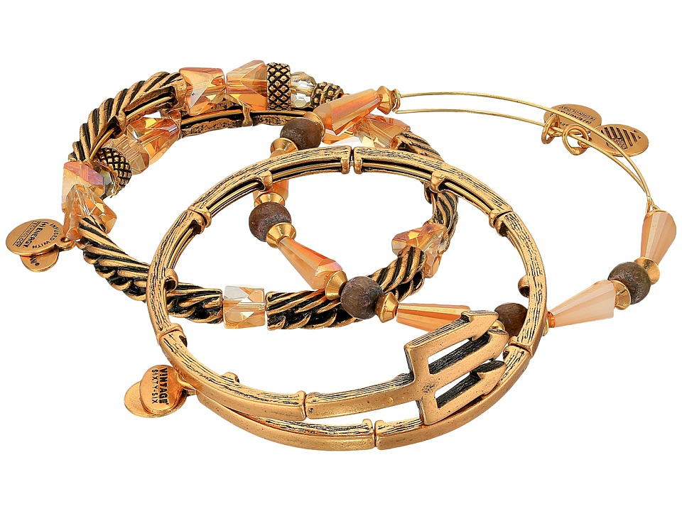 Alex and Ani - Trident Metal Wrap Bracelet Set of 3 (Gold) Bracelet