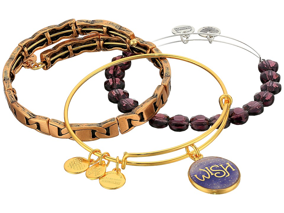 Alex and Ani - Amethyst Wish Bracelet Set of 3 (Gold) Bracelet