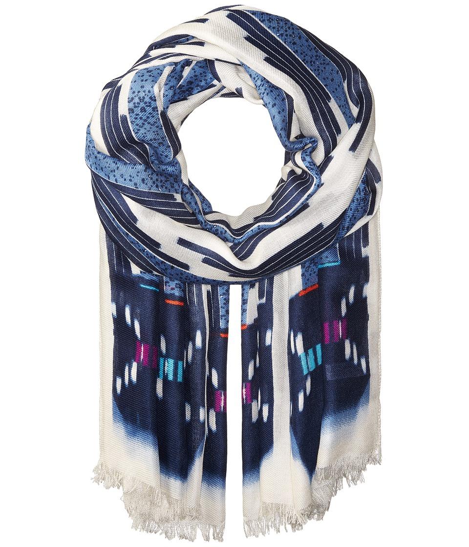 BCBGMAXAZRIA - Ikat Chevron Wrap (Blue) Scarves
