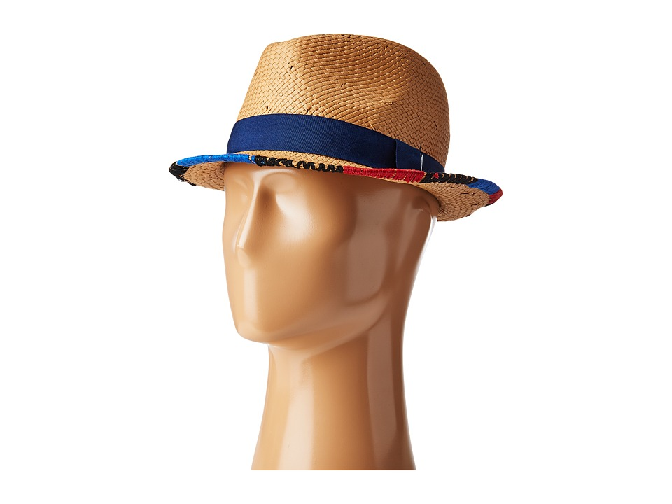 BCBGMAXAZRIA - Embroidered Edge Fedora (Natural) Bucket Caps