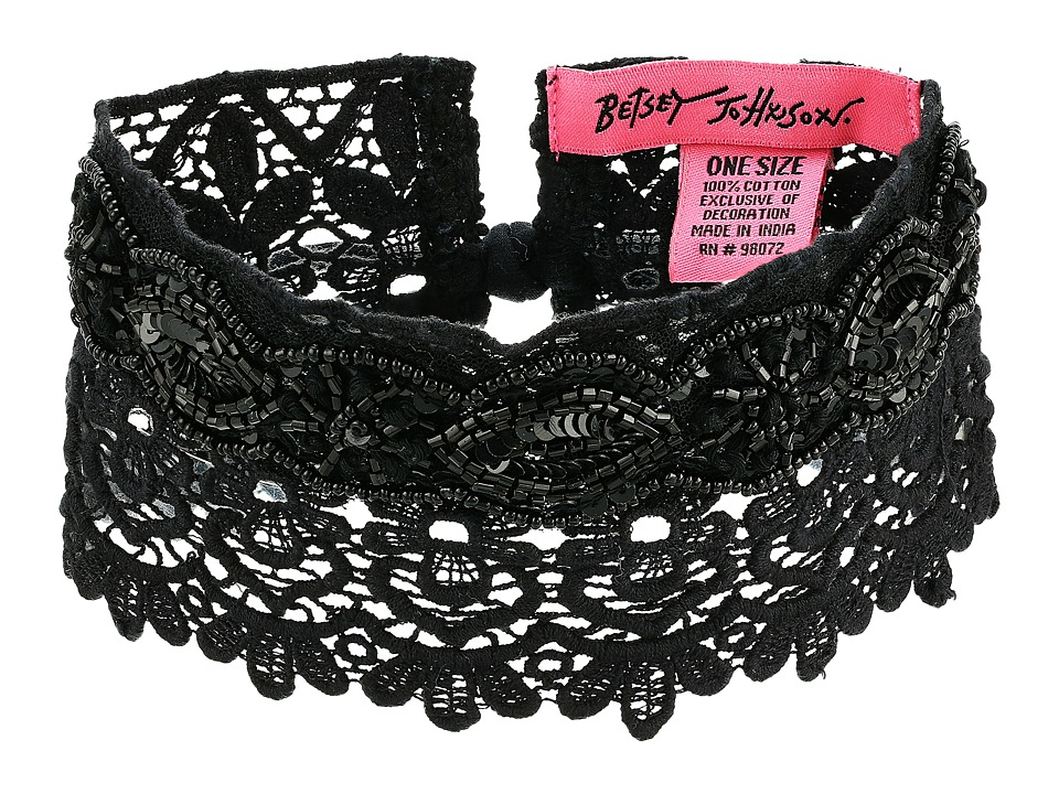 Betsey Johnson - Beaded Lace Choker w/ Ties (Black) Necklace