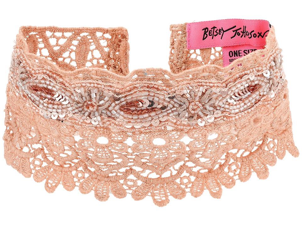 Betsey Johnson - Beaded Lace Choker w/ Ties (Blush) Necklace