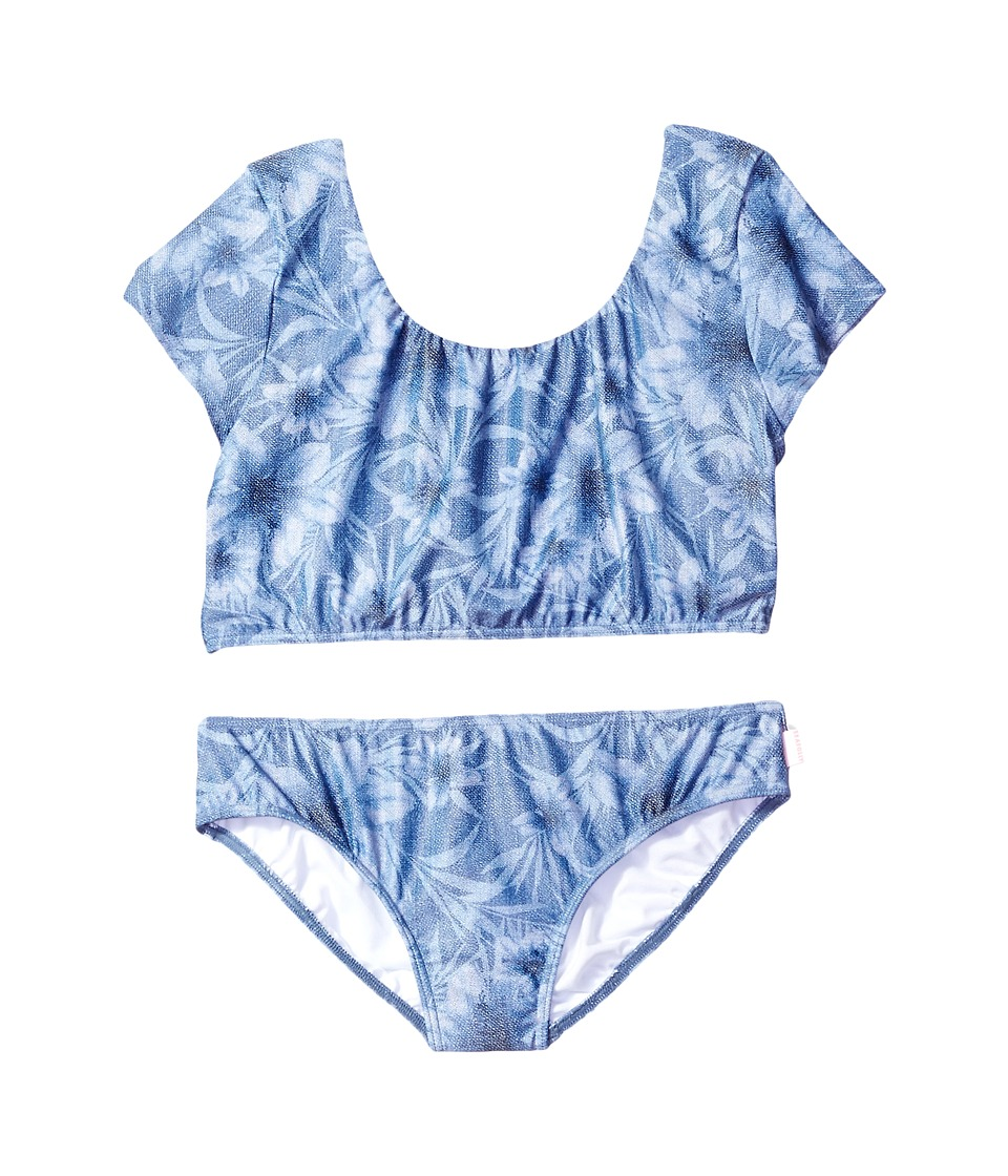 Seafolly Kids Tropical Vacation Tie Back Tankini Top (Little Kids/Big Kids) (Denim Floral) Girl